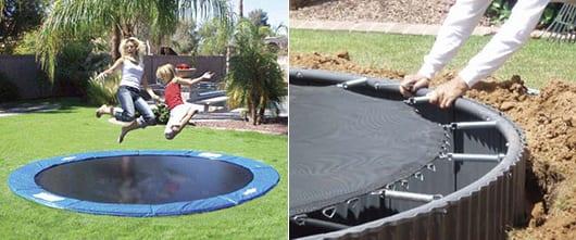 spielplatz im freien mit rundem trampolin gestalten