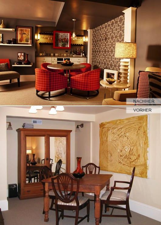 modernes wohnzimmer mit wandfarbe grau und kleine Küche in Wandnische_wandgestaltung mit weißen wandregalen und tapete igrau