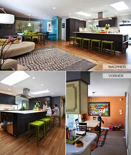 zimmer renovieren_modernes wohnesszimmer mit Holzboden und küche schwarz