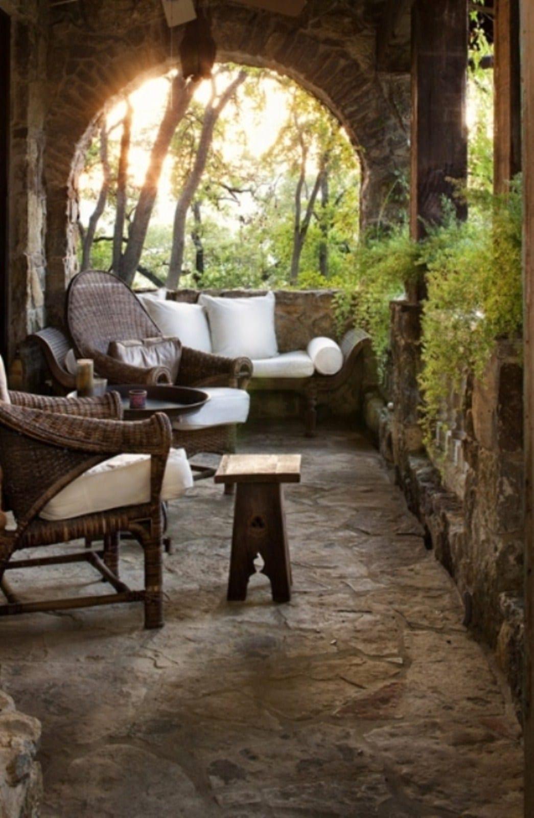 Wohnzimmer Antik Draussen Mit Moderne Terrassenmbel Aus Rattan