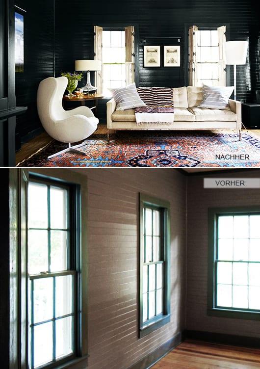 einrichtung wohnzimmer mit wandfarbe blau und weiße fensterläden
