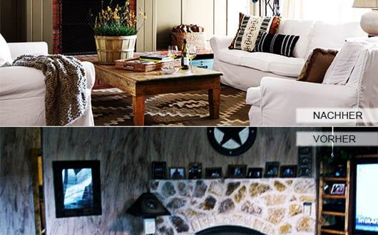 zimmer renovieren ideen kleines wohnzimmer mit kamin aus naturstein mit holz verkleiden und in. Black Bedroom Furniture Sets. Home Design Ideas