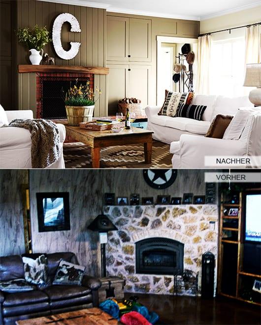 rustikales wohnzimmer mit kamin und wandverkleidung aus holz mit der wandfarbe Kaki_weiße sofa mit rustikalem couchtisch holz