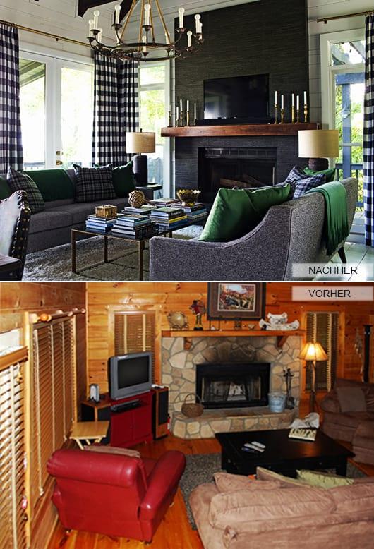 modernes wohnzimmer mit weißen wänden holz und polstersofa grau_kamin dekoidee