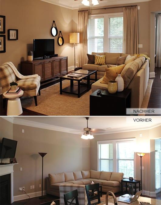 wohnzimmer beige mit TV sideboard holz und couchtische schwarz