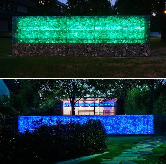 gartengestaltung und lichtgestaltung durch die gartenmauer
