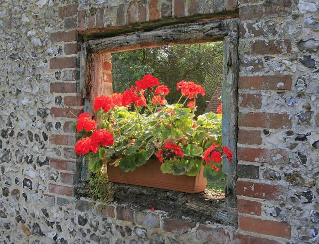 Mörtelmauer mit Fensteröffnung aus Ziegeln