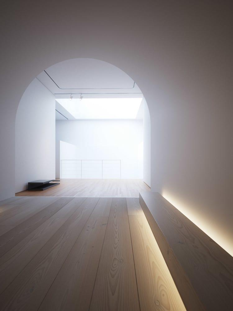 kreative lichtgestaltung durch indirekte Beleuchtung unter einem Holzbank