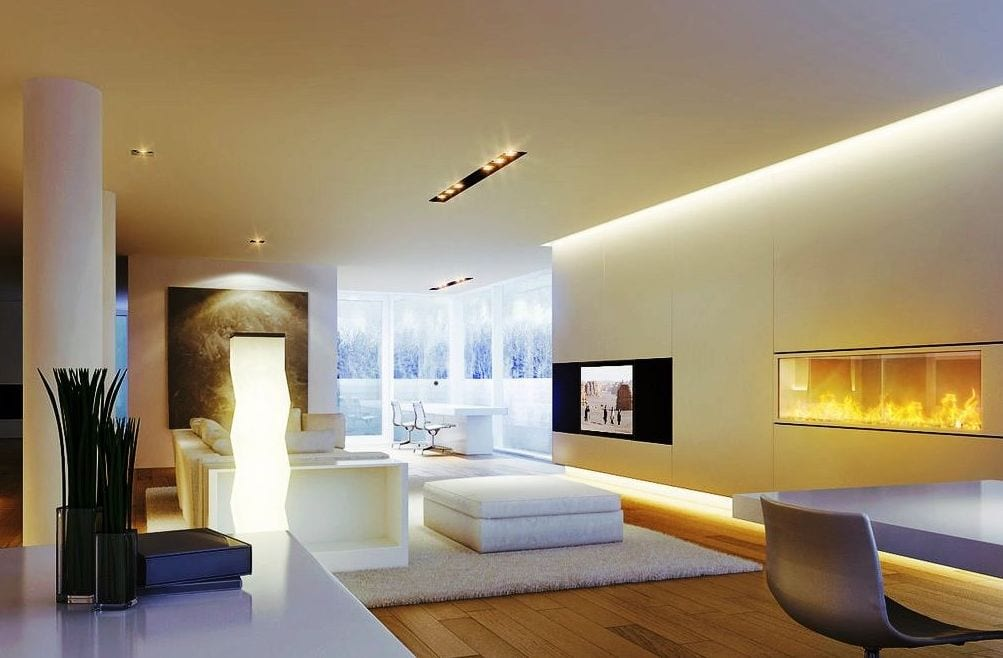 luxus wohnzimmer inspirationen für moderne einrichtung mit eingebautem kamin weiß und integrierte wand- und deckenbeleuchtung
