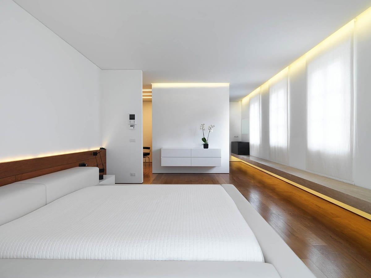 moderne schlafzimmer mit parkett und indirekte beleuchtung hinter kopfbrett