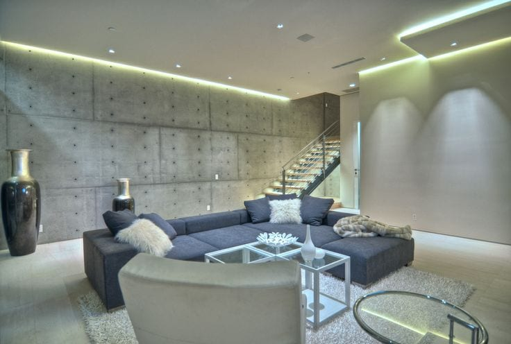 luxus wohnzimmer beton mit ecksofa blau und deckengestaltung mit deckenbeleuchtung