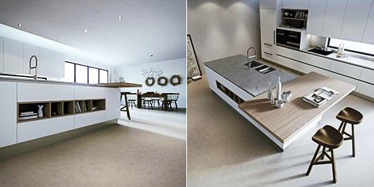 kochinsel idee für moderne Küchengestaltung in weiß und holoz