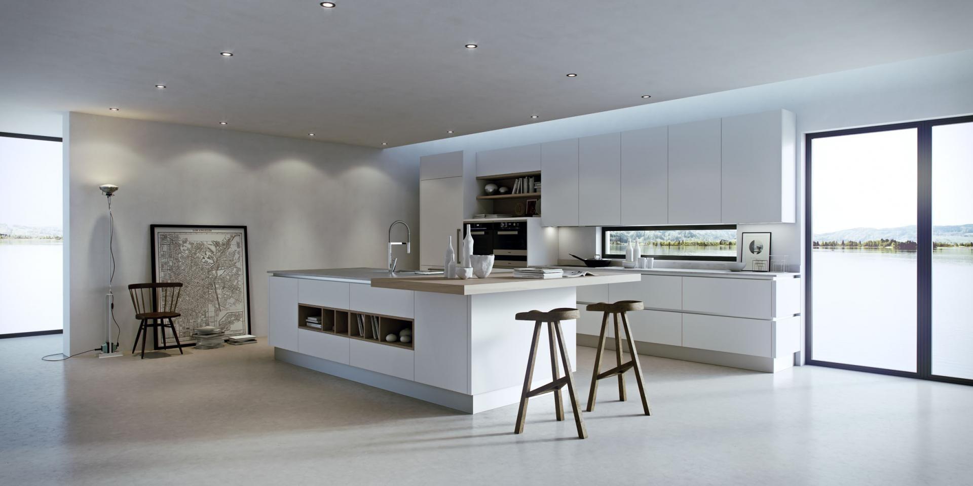 kleine küche einrichtung mit kochinsel idee
