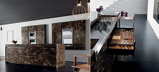moderne kücheneinrichtung mit kochinsel und schicke gestaltung in braun und schwarzen bodenfliesen