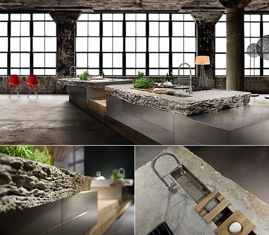 modernes küchenkonzept mit Kochinsel aus edelstahl mit Küchenarbeitsplatte aus Naturstein für moderne Loft Wohnungen