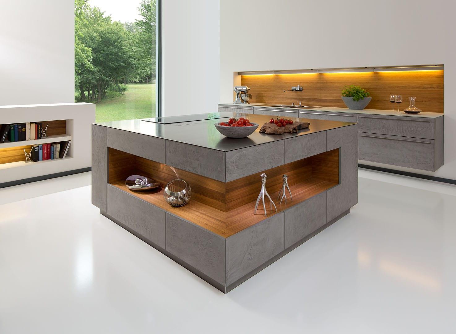 betonküche mit indirekter beleuchtung