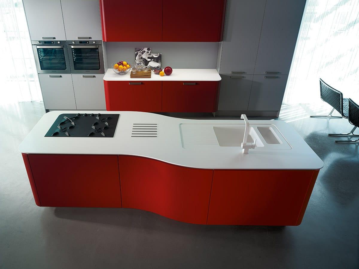 moderne küche design in weiß und rot mit kleiner kochinsel für moderne einrichtung kleiner küchen