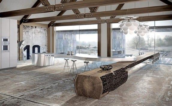 moderne küche mit kochinsel aus edelstahl küchenarbeitsplatte und Esstisch massiv aus Eichenholz