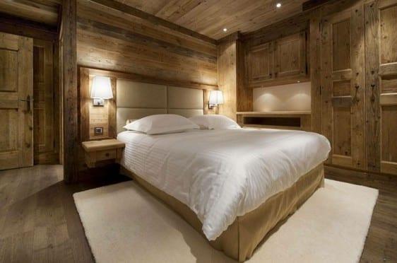 modernes schlafzimmer interior design mit holzboden und holzwänden
