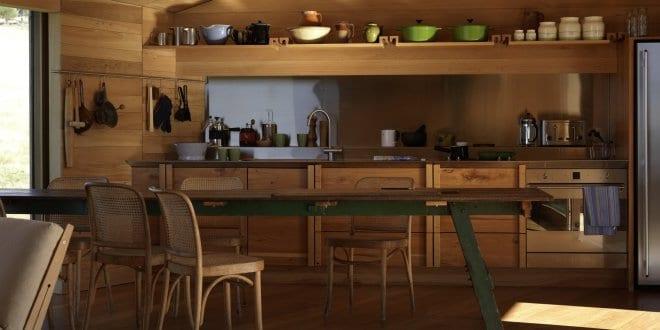 Moderne residenz aus holz mit kleiner küche holz freshouse