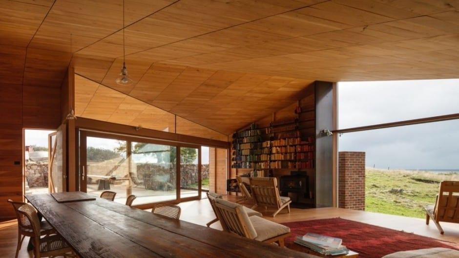 Moderne Wohnzimmer Holz Mit Kamin Und Bcherregalen Als