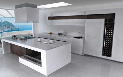 luxuröse kücheneinrichtung mit eingebautem weinregal