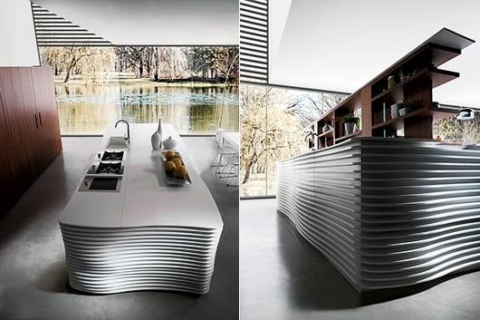 kochinsel weiß mit schibbarem Holzregal für luxus küchen design
