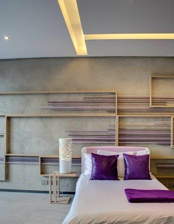 coole idee für wanddeko schlafzimmer und farbgestaltung in lila