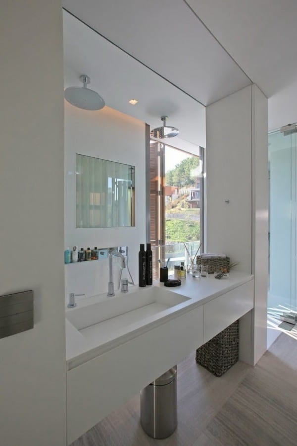 moderne badezimmer idee für kleine dusche hinter dem waschtisch
