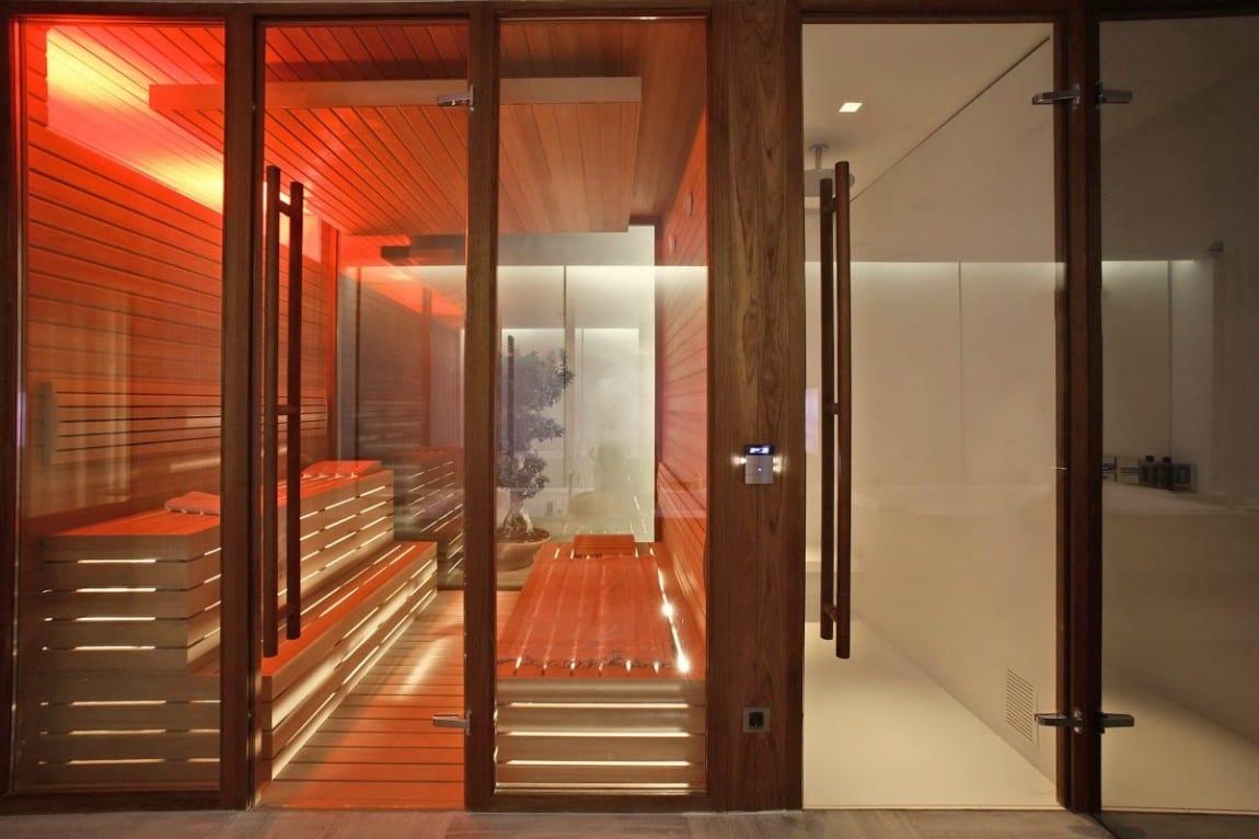haus interior design für luxus einrichtung mit sauna und indirekte beleuchtung im sauna