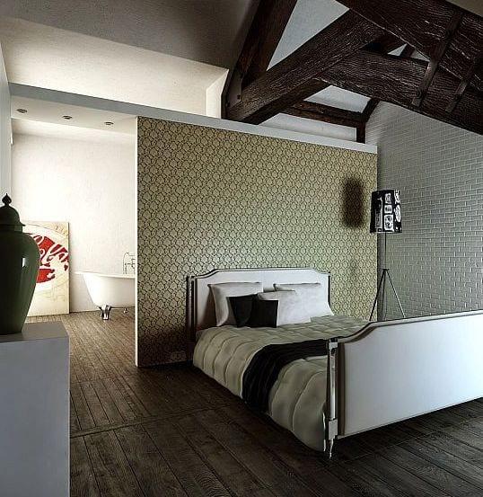 schlafzimmer dachschrähe modern gestalten mit holzbodenbelag und wandgestaltung mit tapete und ziegeln