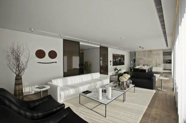 wohnzimmer inspiration für moderne raumgestaltung mit holzboden und wandgestaltung