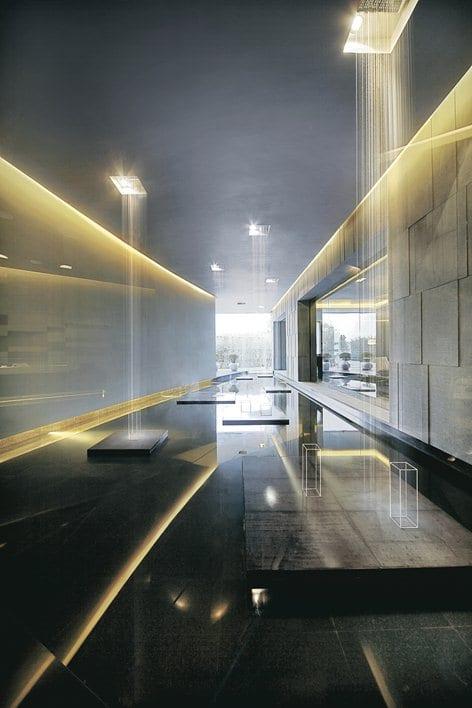 modernes interior design mit wasser und indirekte Wandbeleuchtung