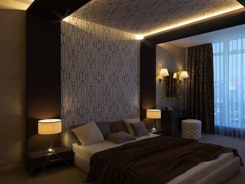 moderne schlafzimmer einrichtung und wanddeko mit tapete