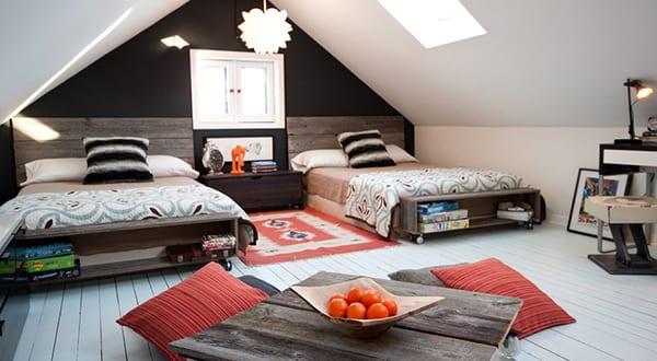 schlafzimmer dachschr ge gem tlich gestalten mit wandfarbe schwarz freshouse. Black Bedroom Furniture Sets. Home Design Ideas