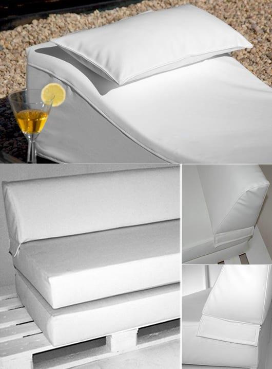 terrassengestaltung in weiß mit terrassenmöbel aus paletten mit polster