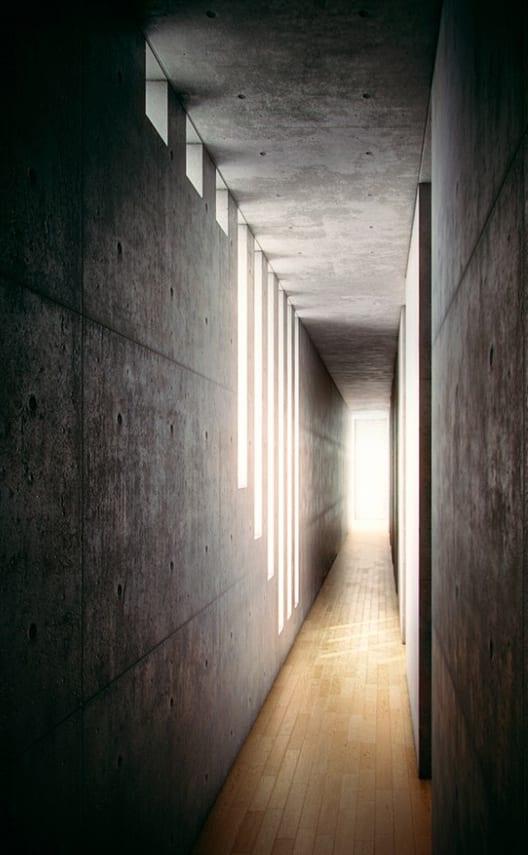 minimalistischer betonbau und coole wohnidee flur mit sichtbeton und holzbodenbelag