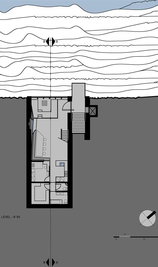 minimalistisches haus aus beton grundriß