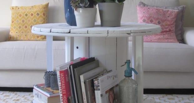 diy beisteltisch rund aus kabelrolle freshouse. Black Bedroom Furniture Sets. Home Design Ideas