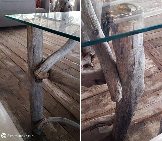 selbstgebaute Gartenmöbel aus Holz für rustikales Interior