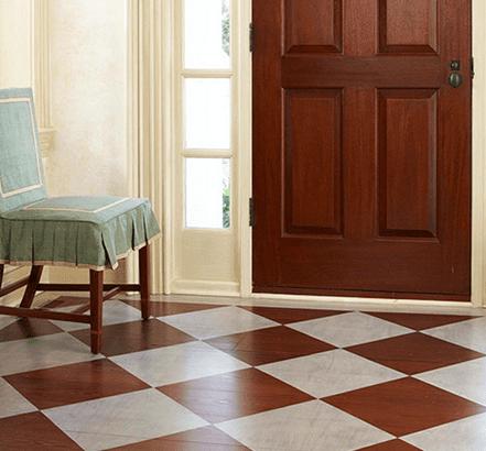 Rhomben Muster in weiß und Holzoptik für den eingangsbereich