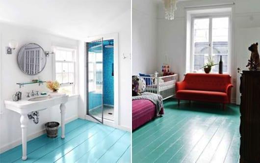 streichen idee badezimmer und wohnzimmer mit holzboden in blau