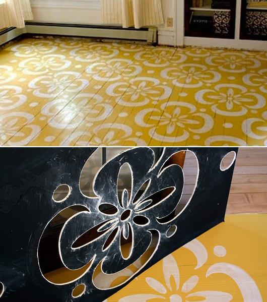 kreative Streichen ideen für Holzbodenbeläge in gelb