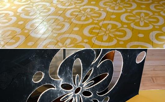 Holzboden in gelb streichen mit weißen blumenmotiven - fresHouse