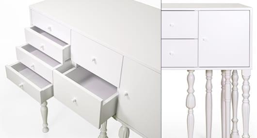 klassische sideboards weiß mit schubladen und gedrechselten beinen für moderne Einrichtung in weiß