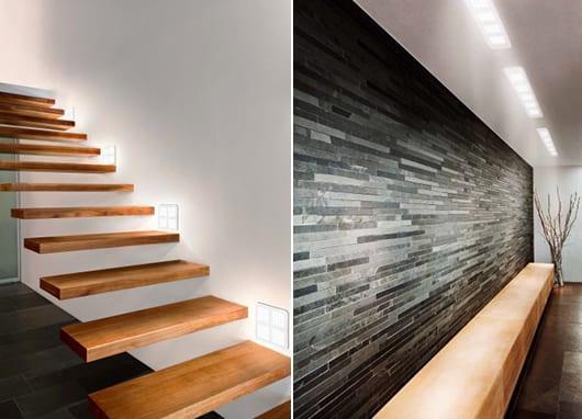weiße wandleuchten und deckenleuchten für moderne Treppenbeleuchtung und als coole wohnidee flur mit Natursteinwand schwarz und sideboard holz