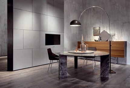 modernes wohnesszimmer mit esstisch rund und sideboard aus holz dekorieren