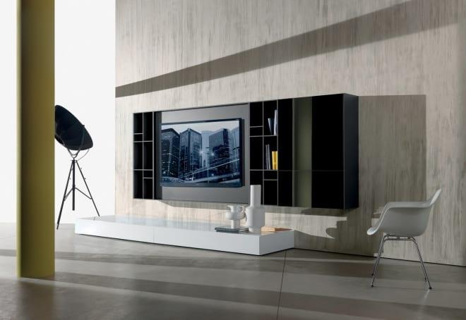 wohnzimmer einrichtung mit tv wandregal schwarz und sideboard weiß für wandfarbe hellgrau