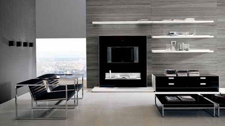 moderne wohnzimmer inspirationen für luxus interior mit natursteinfliesen und schwarze möblierung