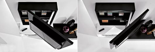 moderner wandschrank schwarz mit regalen und schranktür als Tv wandpaneel